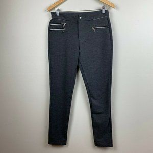 MNG Legging Pants Zip Detail Stretch Pull On Gray